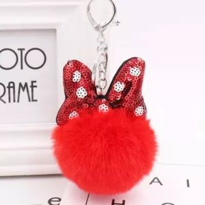 Minnie Mouse Red Pom Pom on a Silver Keychain
